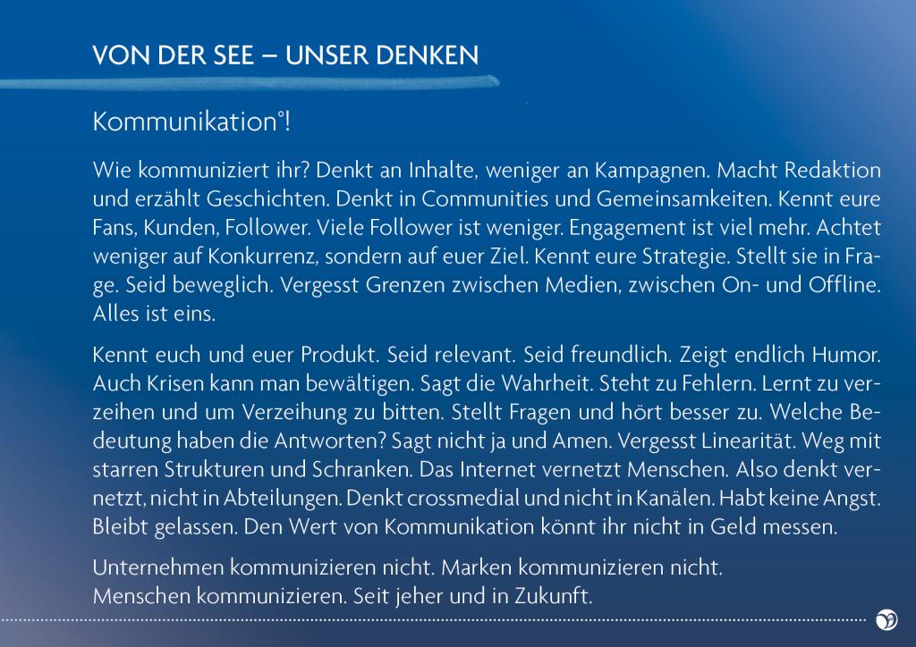 VON DER SEE - Kommunikation