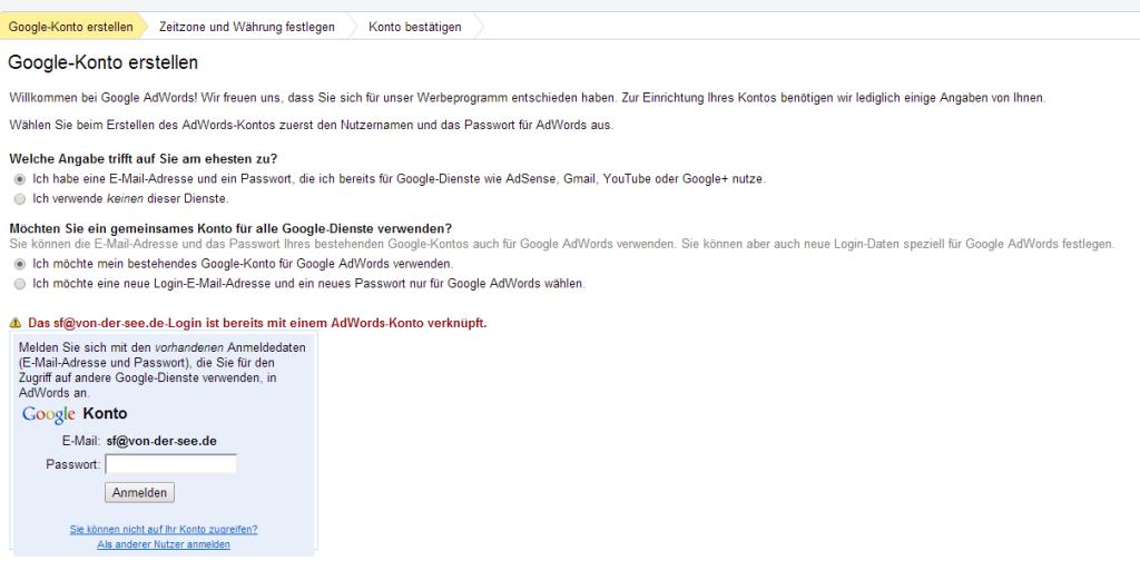 Google AdWords  Google Konto erstellen