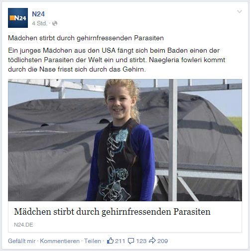 Quelle: Screenshot N24, Facebook Post