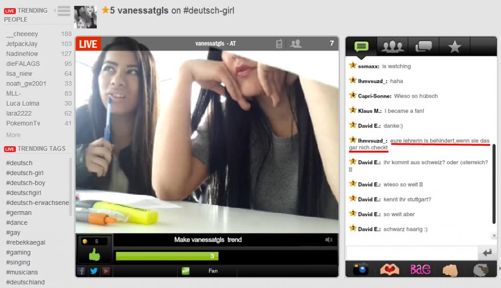 Screenshot: Live Screen aus YouNow, die Klasse inklusive Lehrerin live dabei ohne es zu wissen.